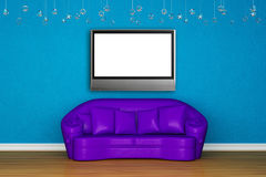 Purple sofa with LCD tv Stock Images