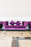 Purple sofa with pillow Stock Images