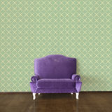 Purple sofa and vintage wallpaper Royalty Free Stock Photography