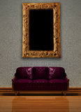 Purple Sofa With Picture Frame Royalty Free Stock Image