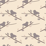 Purple soft little bird on branch lovely romantic seamless pattern background illustration Stock Images