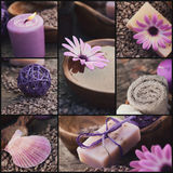 Purple spa collage Stock Foto's
