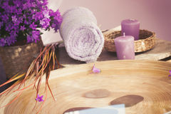 Purple spa setting Royalty Free Stock Images