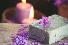 Purple spa setting Stock Photography