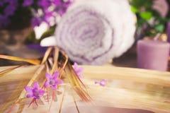Purple spa setting Stock Photos