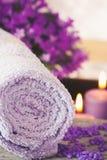 Purple spa setting Stock Photo
