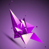 Purple spatial technological shape, polygonal wireframe object p Stock Images