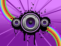 Purple speaker background. A music background on purple with speakers and bright colors Stock Photography