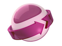 Purple sphere with arrow. 3d Royalty Free Stock Image