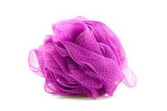 Purple sponge. For showering over white background Stock Images