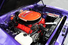 Purple sports car v8 engine Stock Photo