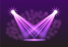 Purple spotlights. Scene. Light Effects. Stock Images