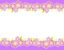 Purple Spring Flowers Border. A background illustration featuring a variety of soft purple flowers bordering the top and bottom stock illustration