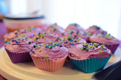 Purple Sprinkle Cupcakes Royalty Free Stock Photography