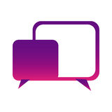 Purple square chat bubbles icon. Illustraction design Stock Photos