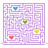 Purple square labyrinth. Collect all the colored hearts and find a way out of the maze. An interesting game for children. Simple f. Lat vector illustration Stock Image