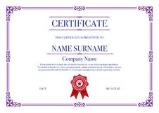 Purple Square shape with 3 stripes element Certificate border for Excellence Performance stock photo