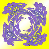 Purple square spiral on yellow background. Large thick strokes. White shines through wings in middle. Royalty Free Stock Photos