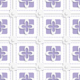 Purple squares and white flowers pattern. Abstract 3d seamless background. Purple squares and white flowers pattern with cut out of paper 3d effect vector illustration