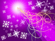 Purple Squiggles Background Shows Pattern And Snowflakes Stock Images