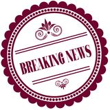 Purple stamp with BREAKING NEWS . Royalty Free Stock Photo