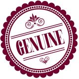 Purple stamp with GENUINE . Royalty Free Stock Images