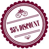 Purple stamp with 25 PERCENT DISCOUNT . Illustration image concept Royalty Free Stock Photography