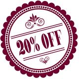 Purple stamp with 20 PERCENT OFF . Illustration image concept vector illustration