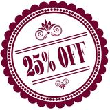 Purple stamp with 25 PERCENT OFF . Illustration image concept Stock Image