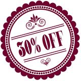 Purple stamp with 30 PERCENT OFF . Illustration image concept Royalty Free Stock Image