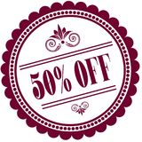 Purple stamp with 50 PERCENT OFF . Illustration image concept vector illustration