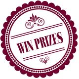 Purple stamp with WIN PRIZES . Stock Photography