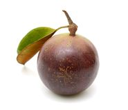 Purple star apple fruit with leaf Stock Photos