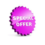 Purple star with Speccial Offer sign Stock Photo