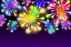 Purple Starry fireworks background with place for text Stock Images