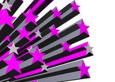 Purple stars. Bursting outward in 3d vector illustration
