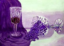 Purple still life glass with wine vase with grape gouache. Children`s artwork vector illustration