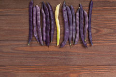 Purple string beans on a wooden background. Purple string beans on wooden background Stock Images