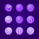 Purple Stripe Round Stripe Ball Icon Set Royalty Free Stock Image