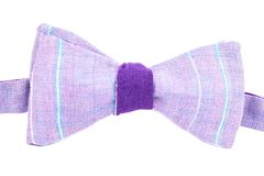 Purple striped bow tie isolated. On white background Stock Photos
