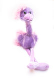 Purple Stuffed Ostrich Toy. Sitting on white background Royalty Free Stock Photo