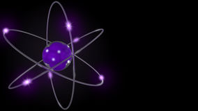 Purple stylized atom and electron orbits. 3d rendering Royalty Free Stock Photo