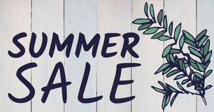 Purple summer sale text and green leaf graphic against white wood panel Royalty Free Stock Photography