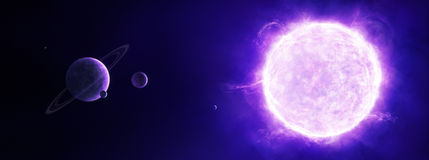 Purple sun in space with planets Royalty Free Stock Photography