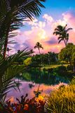 Purple Sunset with Clouds and Lake in Maui Hawaii royalty free stock photography