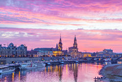 Purple sunset in Dresden Stock Photography