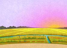 Purple sunset in the fields Royalty Free Stock Image