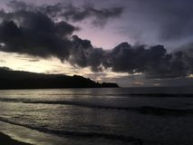 Purple Sunset in Hanalei Bay on Kauai Island in Hawaii. Royalty Free Stock Photo