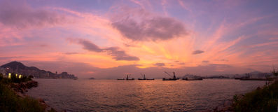 Hong Kong Harbour Purple Sunset stock photos