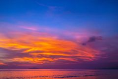 Purple Sunset In Sanya, Hainan, China. Stock Photos